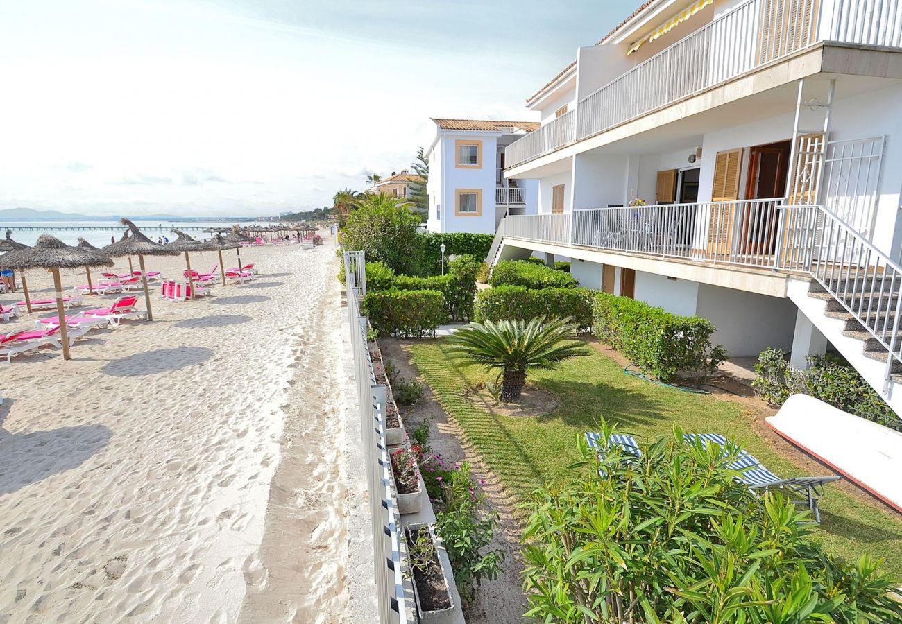 Vistas de la playa y del apartamento de Puerto de Alcudia
