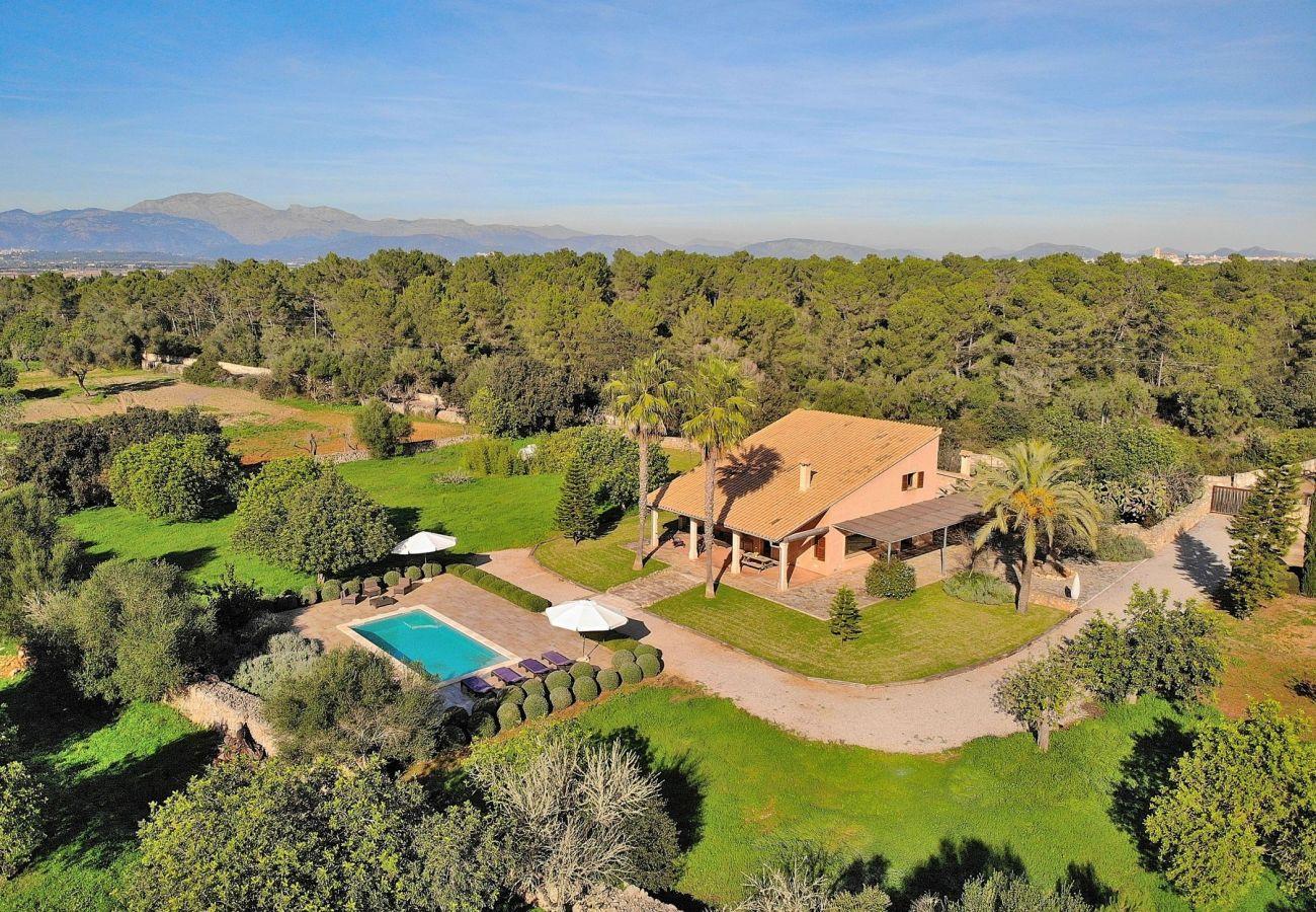 Vista aérea del villa en Muro con piscina