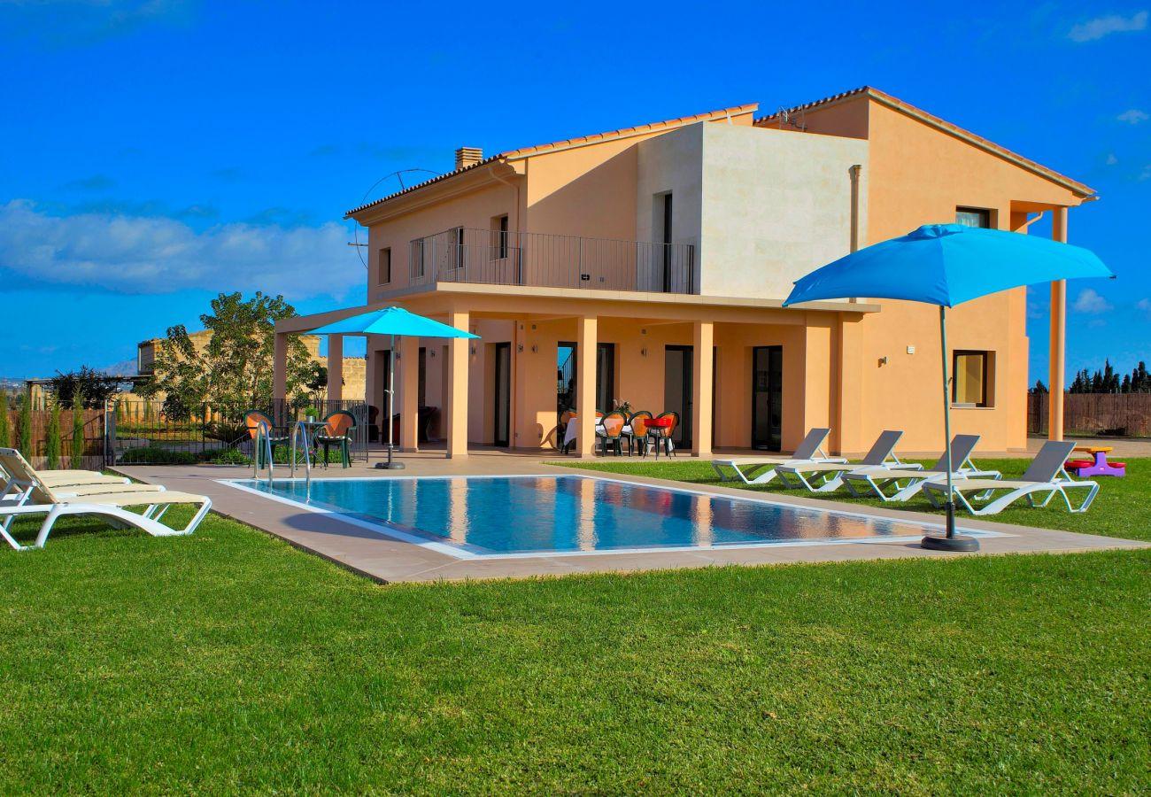 Ferienhaus mit Pool und Sonnenliegen inmitten der Natur
