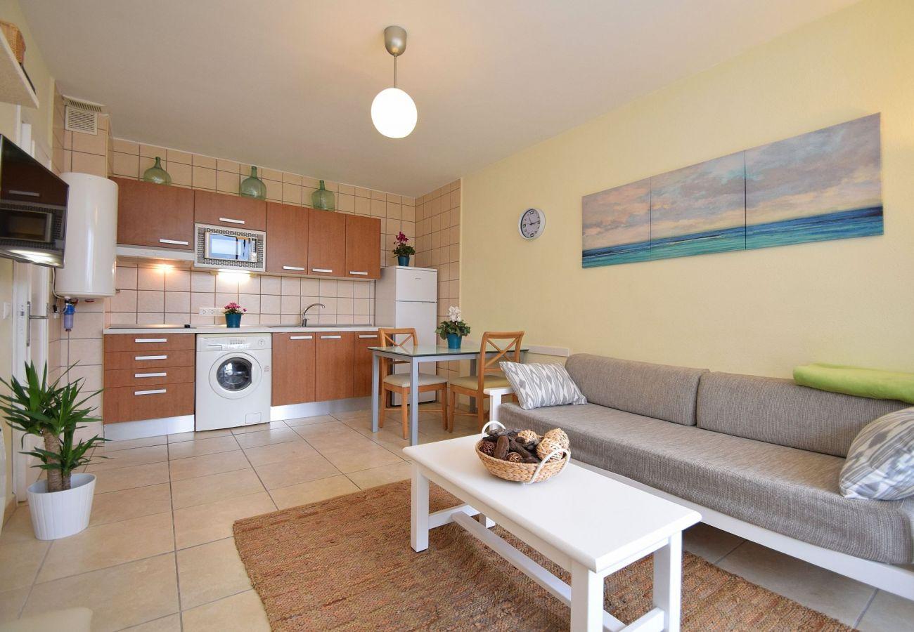 Wohnzimmer der Ferienwohnung in Can Picafort
