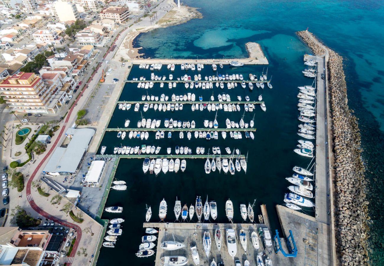 Luftaufnahme des Hafens von can picafort