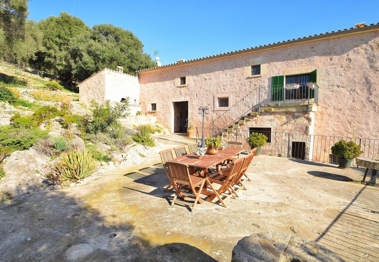 Blick auf die Villa und die Terrasse