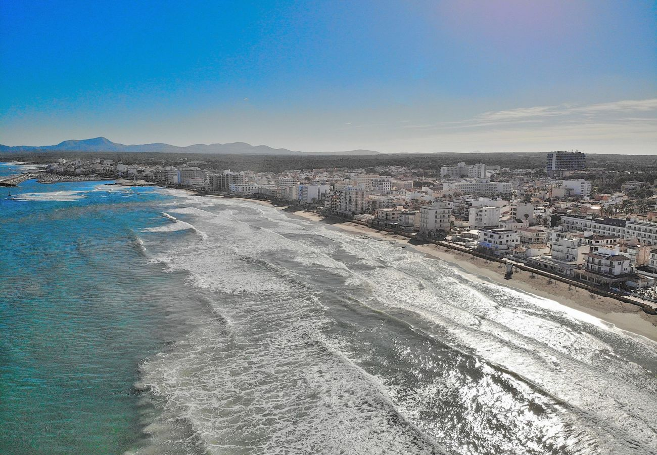 Spectacular photo from the sky of Can Picafort beach
