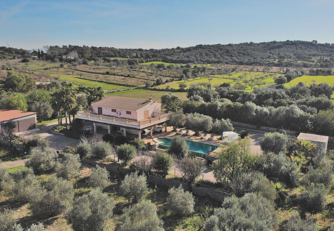 Aerial view of the villa in Sineu