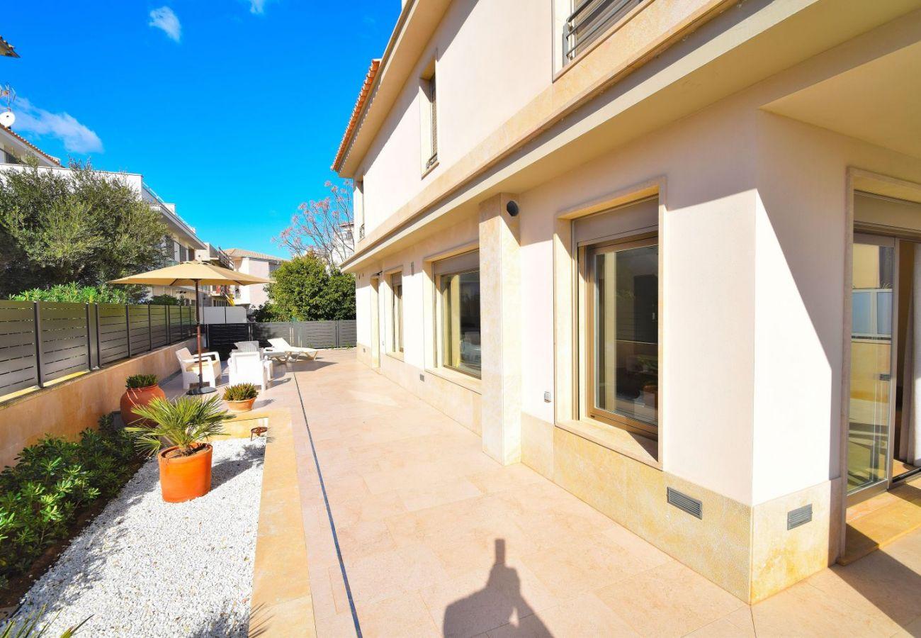 The luxury villa has spacious terraces